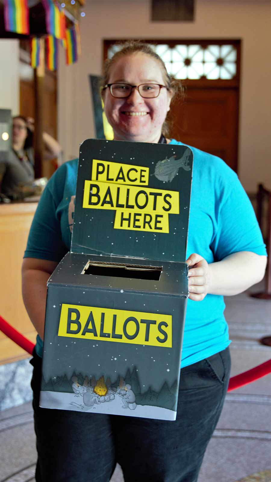 Volunteer with Ballot Box