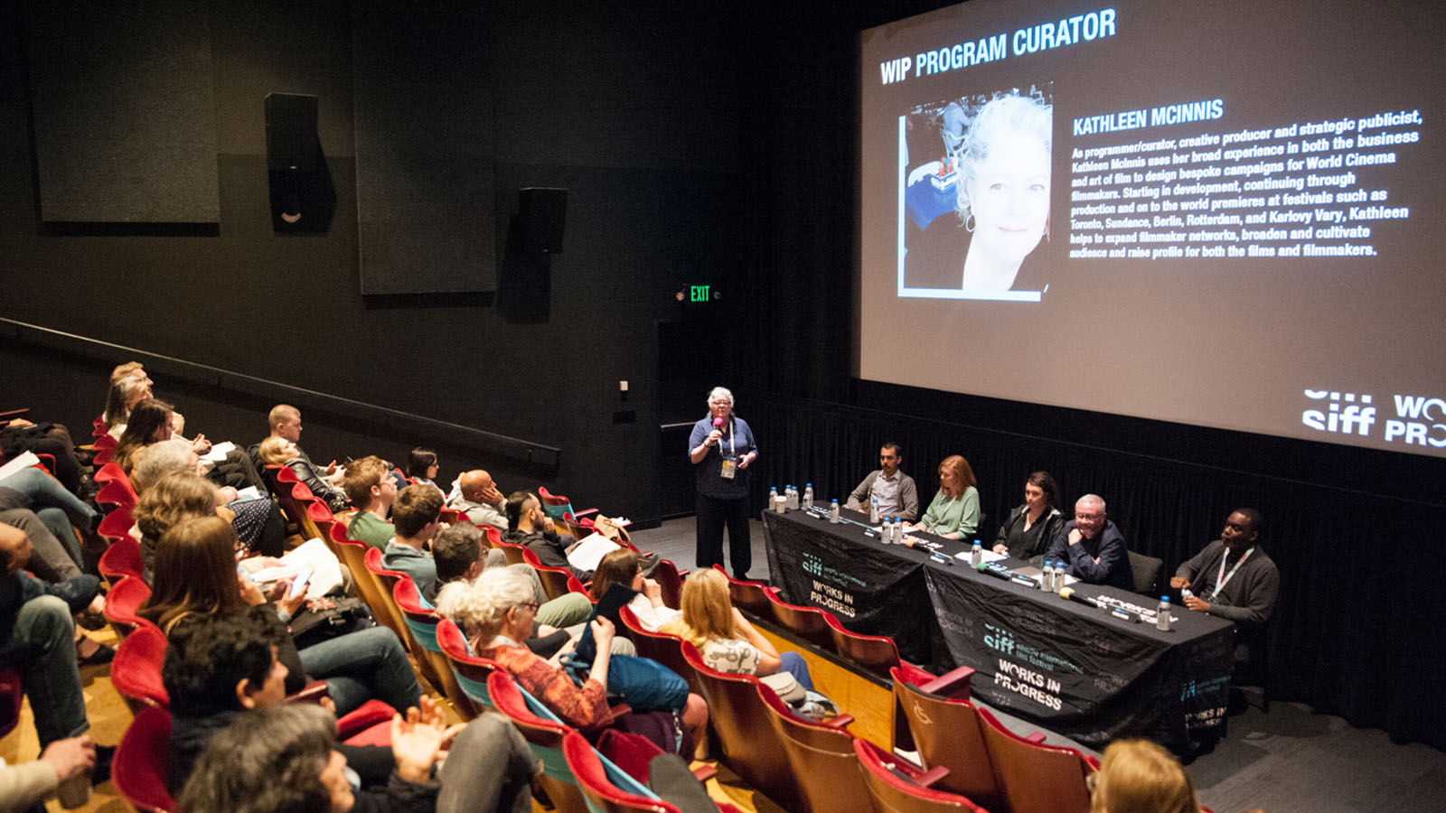 New Works-in-Progress Forum event 2019 at SIFF Film Center. Photo by Elizabeth Crook.